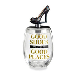 Stemless Wine Glass & Stopper Good Shoes Take You To Good Places