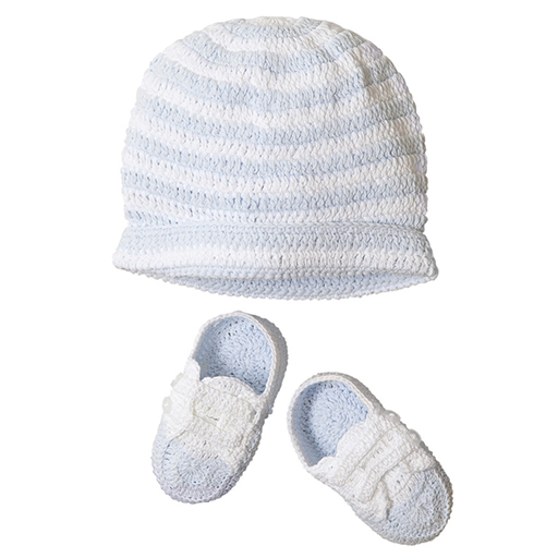 Hat and Bootie Set- Blue Stripe
