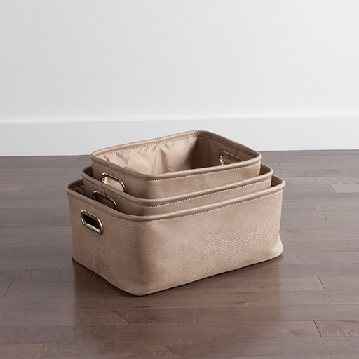 Avenue Storage Totes Taupe Set of Three