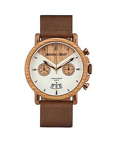 Whiskey Wood Leather Belt Band Watch