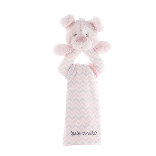 Pink Dog Rattle & Burp Cloth Set