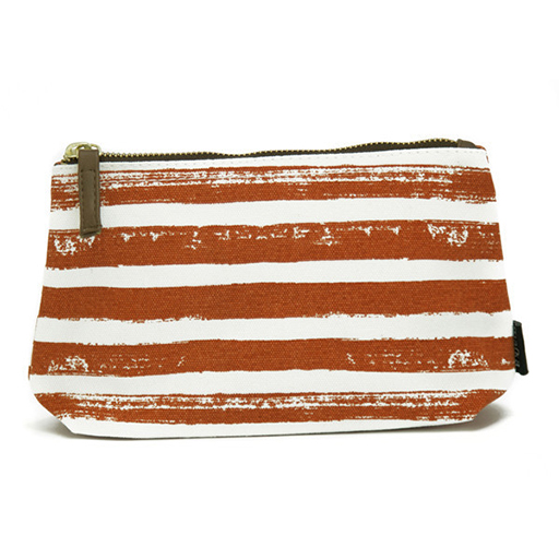 Stripes Tangerine, Canvas Pouch, Large