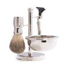 "Load image into Gallery viewer, ""Mach 3"" Razor & Pure Badger Brush with Soap Dish on Chrome Stand"