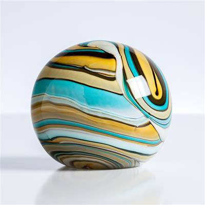 "Swirl Teal/ Gold 4"" Glass Ball  Paperweight"