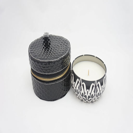 Tin Cassis Pomegranate Candle and Snake Skin Travel Purse