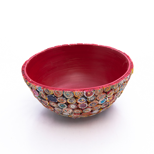 Recycled Paper Spiral Bowl-Red