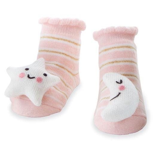 Pink Moon and Star Rattle Toe Socks