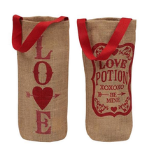 Load image into Gallery viewer, Valentine Printed Burlap Bottle Totes