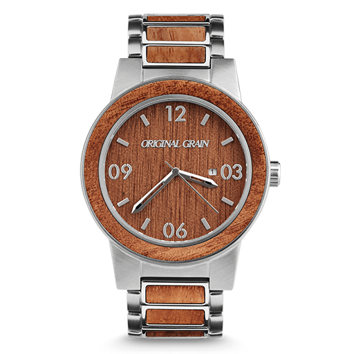 Mahogany Brushed Silver Wood Watch