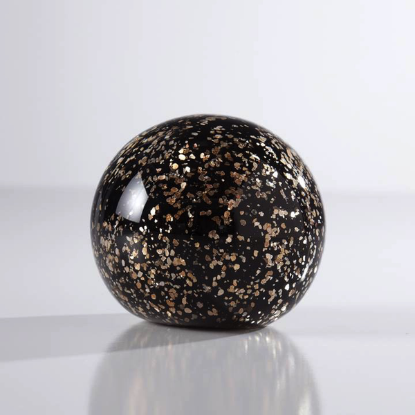 Glitter 3 Glass Ball Paperweight Decor - Black