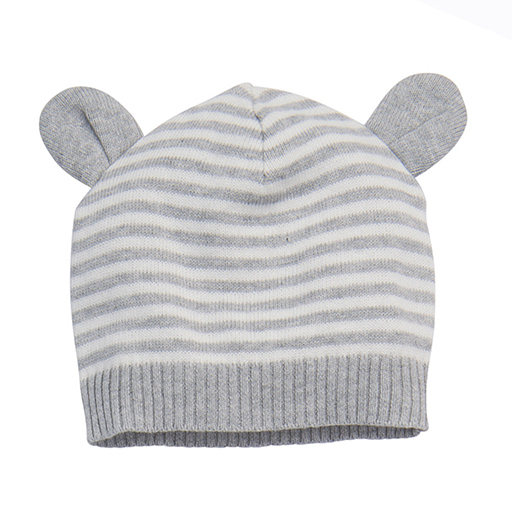 Knit Hat with Ears - Gray 3-12M