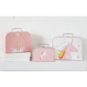 Gold Foil Unicorn Nested Suitcase Set