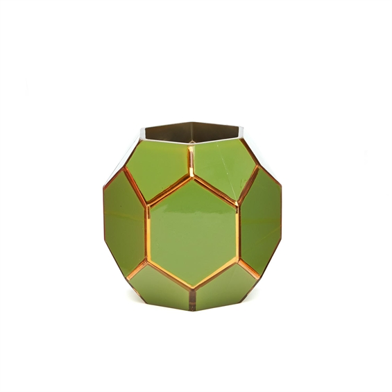 Green/Gold Octagonal Glass Vase
