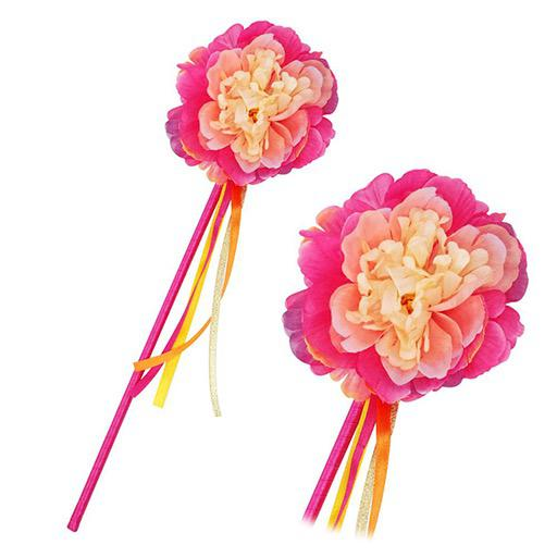 Hot Pink Peony Flower Fairy Wand