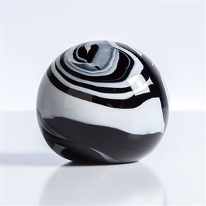 "Swirl Black/ White 4"" Glass Ball Paperweight"