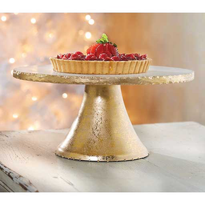 Gold Foil Marble & Tin Pedestal Stand