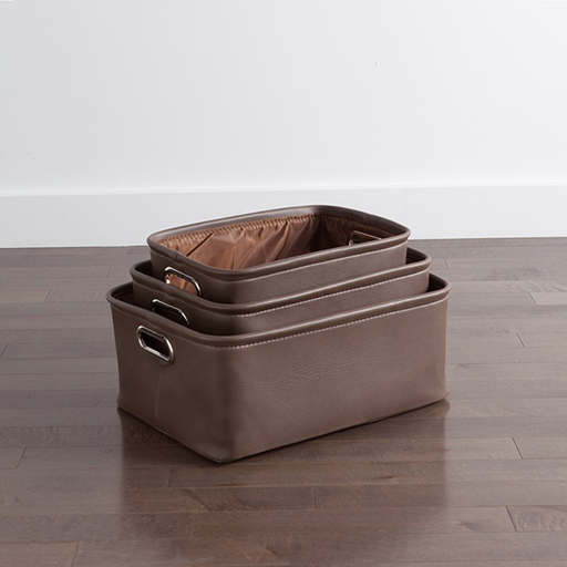 Avenue Storage Totes Chocolate Set of Three