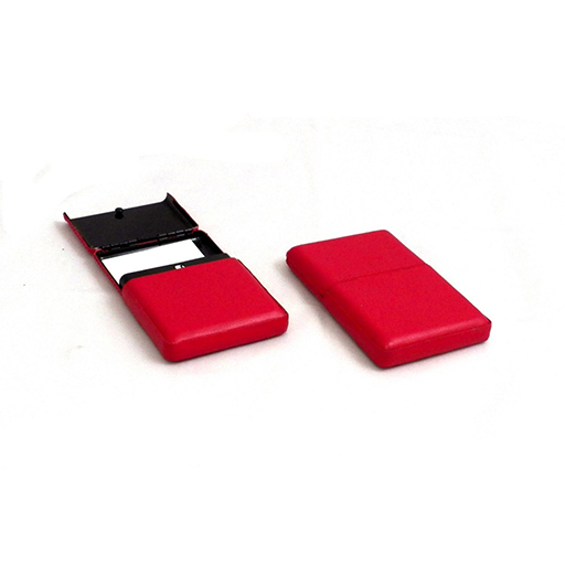Business Card Case w/Flip Top Red Leather
