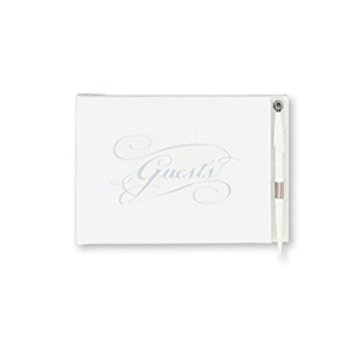 Guest Book with Pen White & Silver