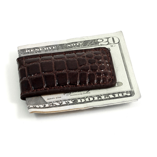 "Brown ""Croco"" Leather Magnetic Money Clip"