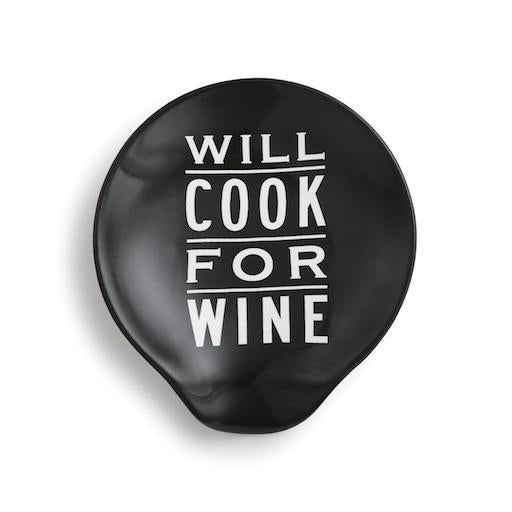 Will Cook for Wine Ceramic Spoon Rest