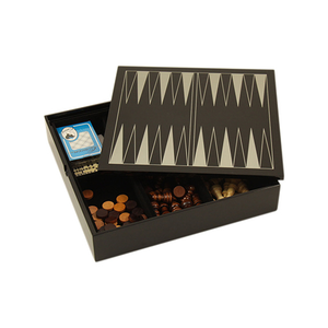 Black Lacquered Wood Multi Game Set