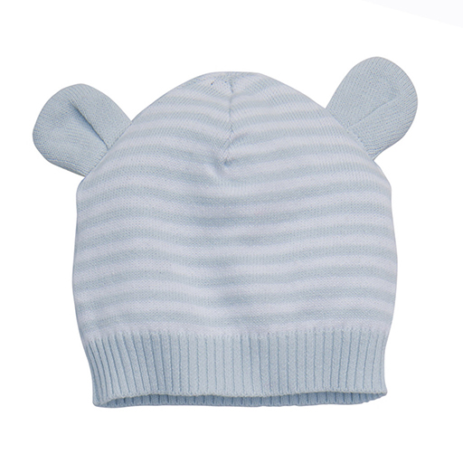 Knit Hat with Ears - Blue 3-12M