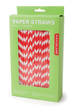 Load image into Gallery viewer, Red Chevron Paper Straws