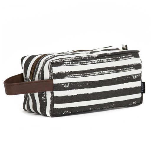 Dopp Travel Case, Stripes Charcoal Canvas