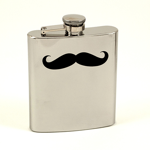 STAINLESS STEEL MOUSTACHE FLASK 7OZ