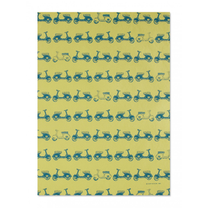 Mustard Scooters Gift Wrap Sheet