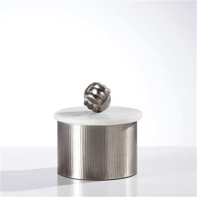 Tomar Antique Pewter Ribbed Canister - Short