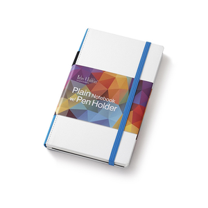 Medium Plain Notebook White and Blue