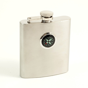 STAINLESS STEEL FLASK W/COMPASS 8OZ