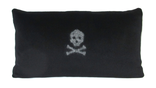 Skull & Bones White on Black pillow