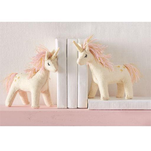 Hand-Crafted Wool Unicorn Bookend