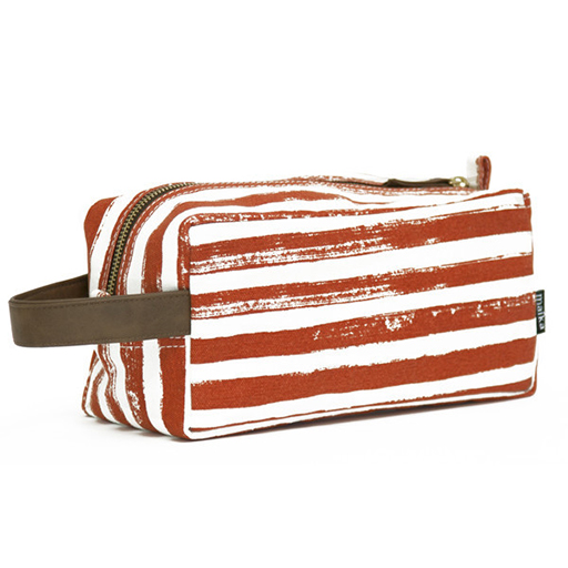 Stripes Tangerine Canvas Dopp Travel Case