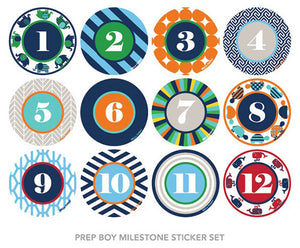 Prep Boy Milestone Sticker Set