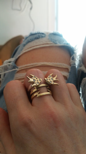 ella green jewellery Irish designer swallows rings yellow gold