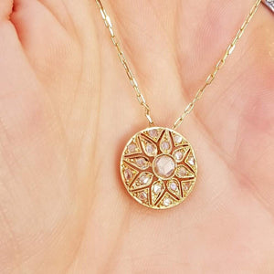 18k gold pendant vintage rose cut diamonds ella green Irish jewellery