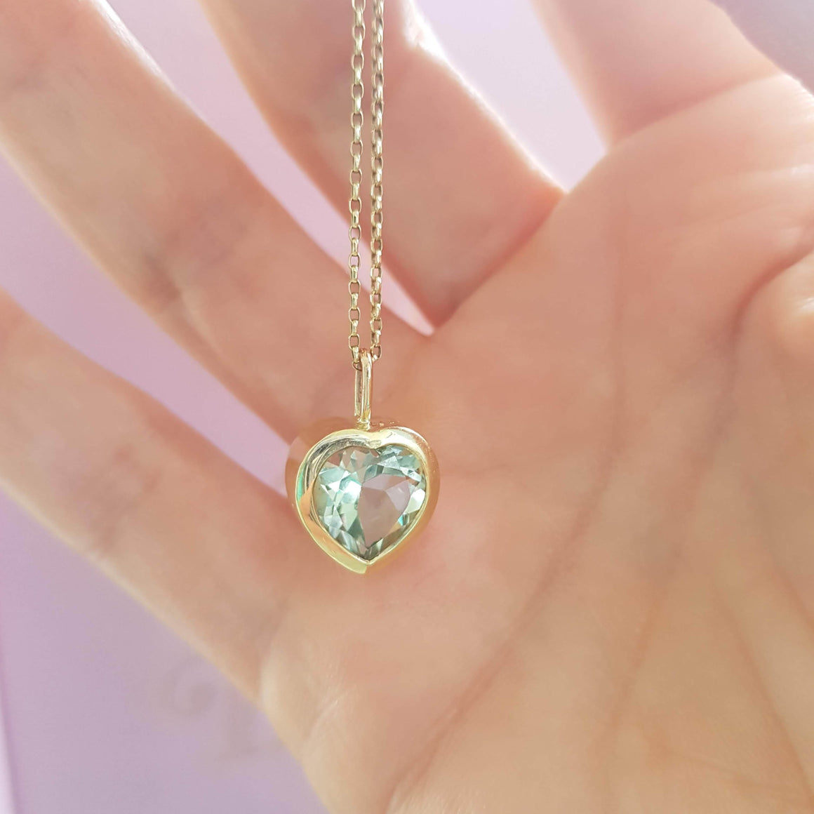 Green Amethyst Pendant 9k yellow gold. Ella Green Jewellery