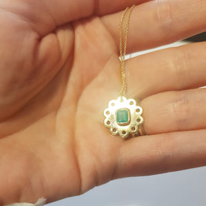 14k solid yellow gold and colombian emerald pendant