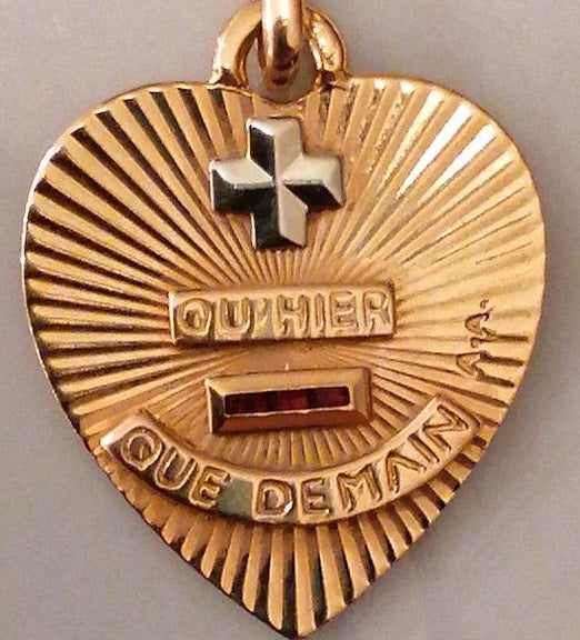 Augis Vintage French Love Heart Medal. More than Yesterday, Less than Tomorrow