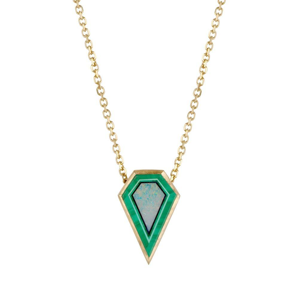irish jewellery designer ella green jewellery green pendant malachite opal 14k Yellow Gold