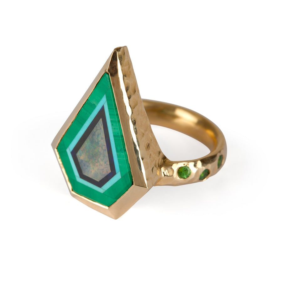 irish jewellery designer ella green jewellery green ring malachite opal 14k Yellow Gold
