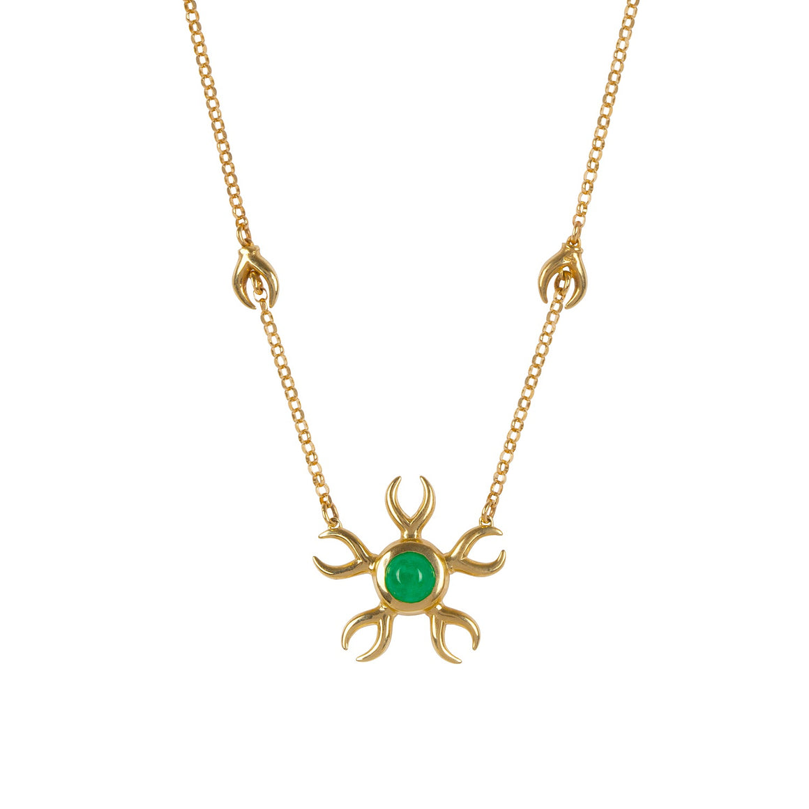 Metamorphosis Irish jewellery designer Ella Green emerald yellow gold necklace insect jewelry