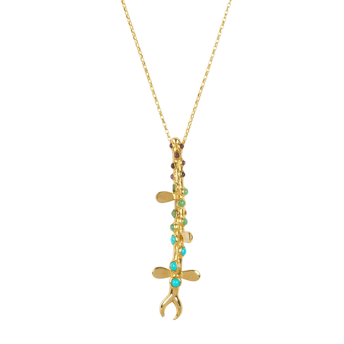 Metamorphosis Irish jewellery designer Ella Green turquoise amethyst amazonite yellow gold necklace insect jewelry