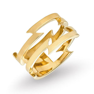 Irish jewellery designer ella green 9k Yellow Gold razor wire double bar ring