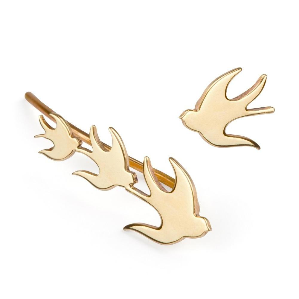 ella green jewellery irish jewellery designer swallows bird ear climber 9k yellow gold and stud