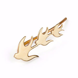 ella green jewellery irish jewellery designer swallows bird ear climber 9k yellow gold